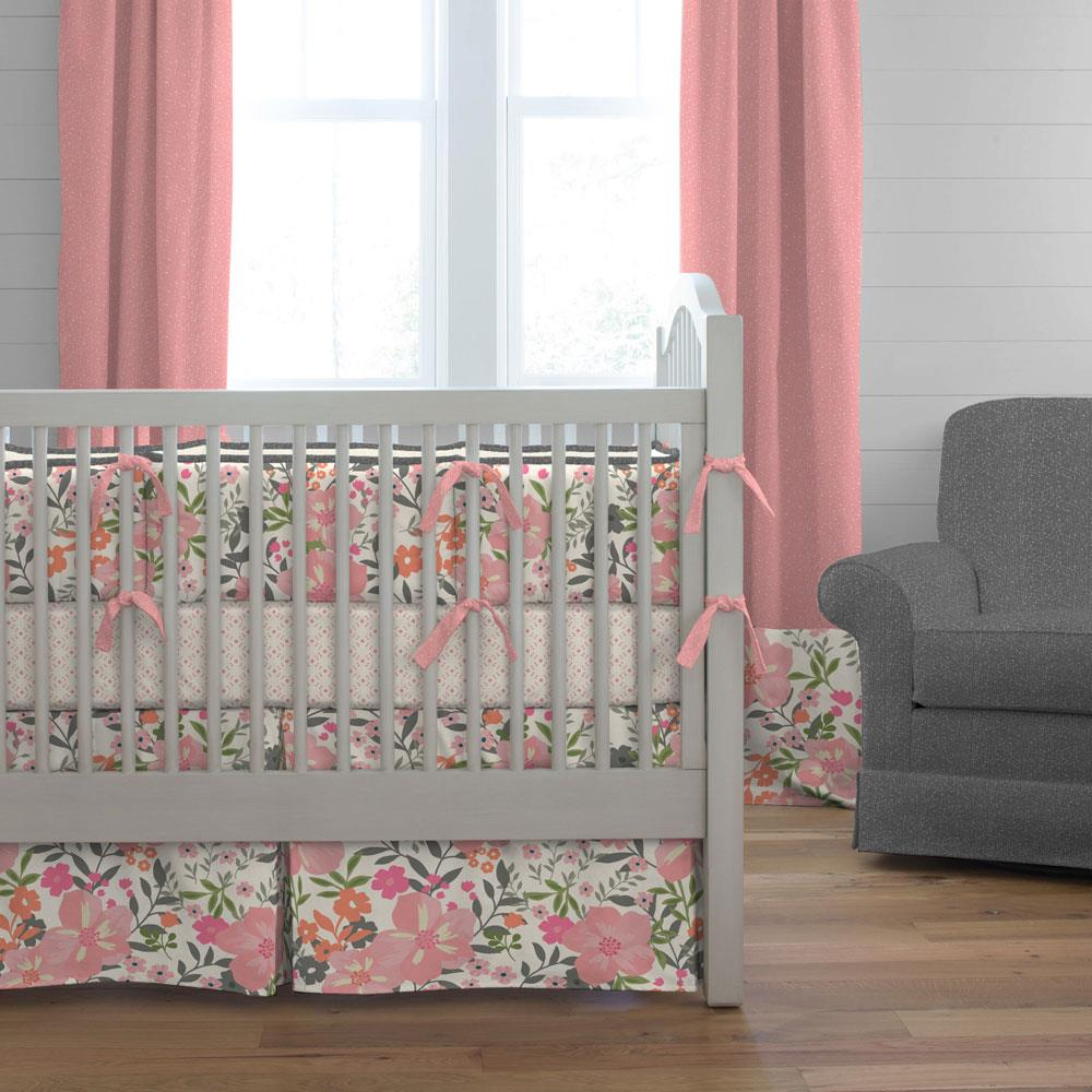 Product image for Pink and Orange Floral Tropic Crib Bumper