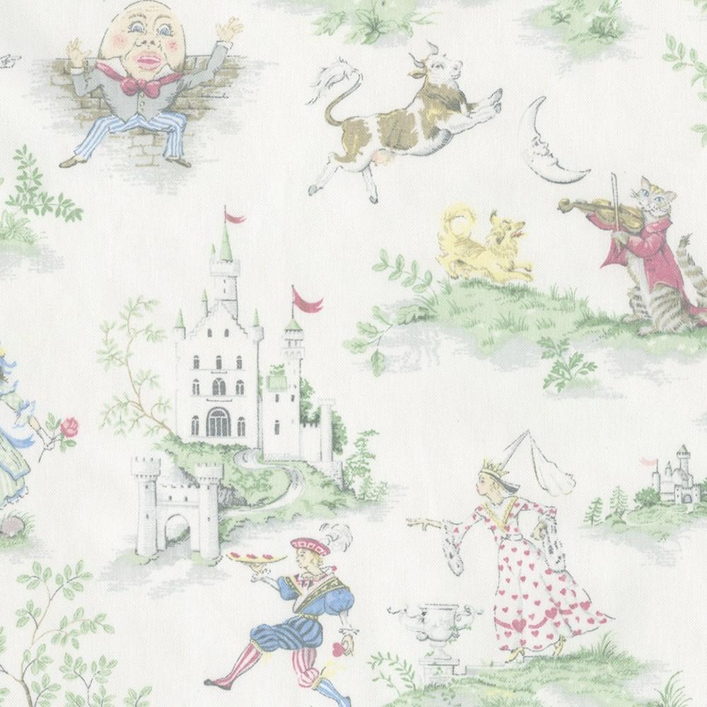 Product image for Nursery Rhyme Toile Crib Skirt Gathered with Trim