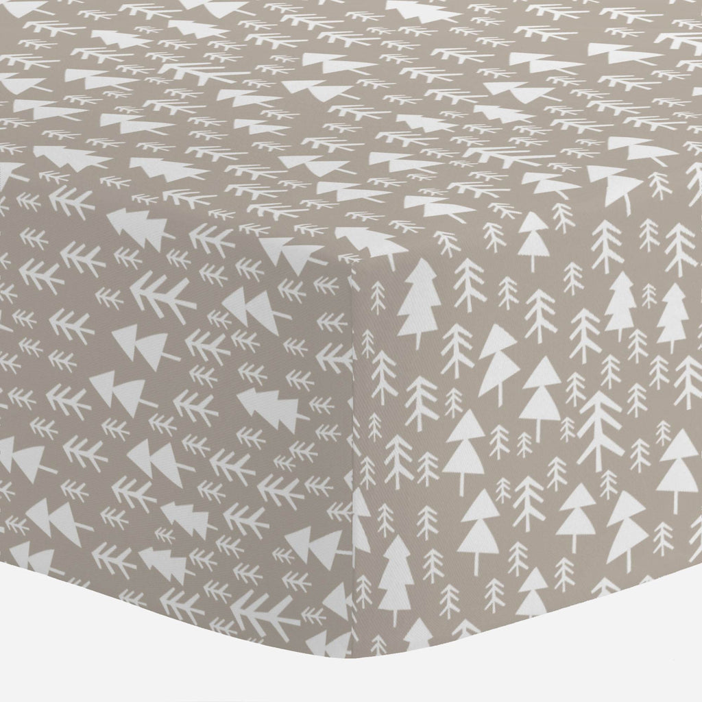 Product image for Taupe Baby Woodland Trees Mini Crib Sheet