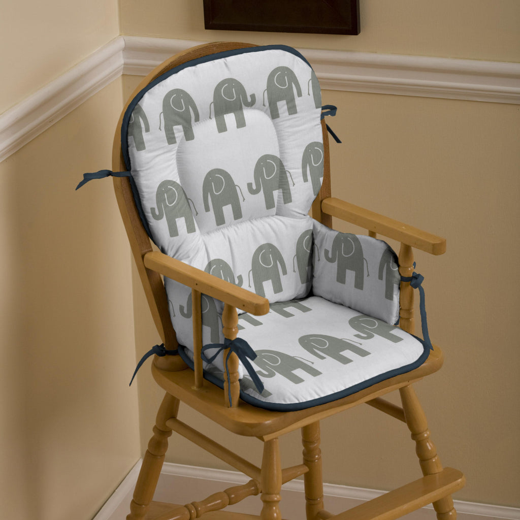 Product image for Navy and Gray Elephants High Chair Pad