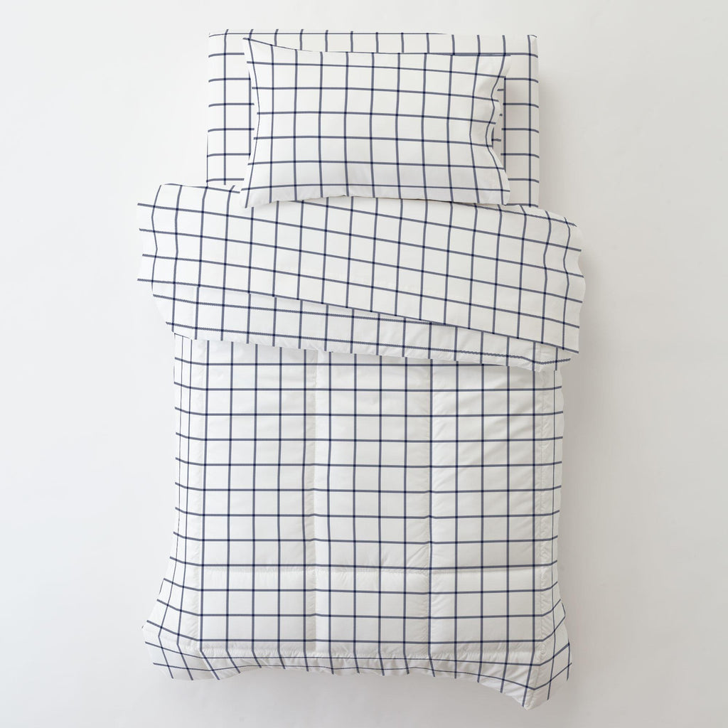 Product image for Navy Windowpane Toddler Pillow Case with Pillow Insert