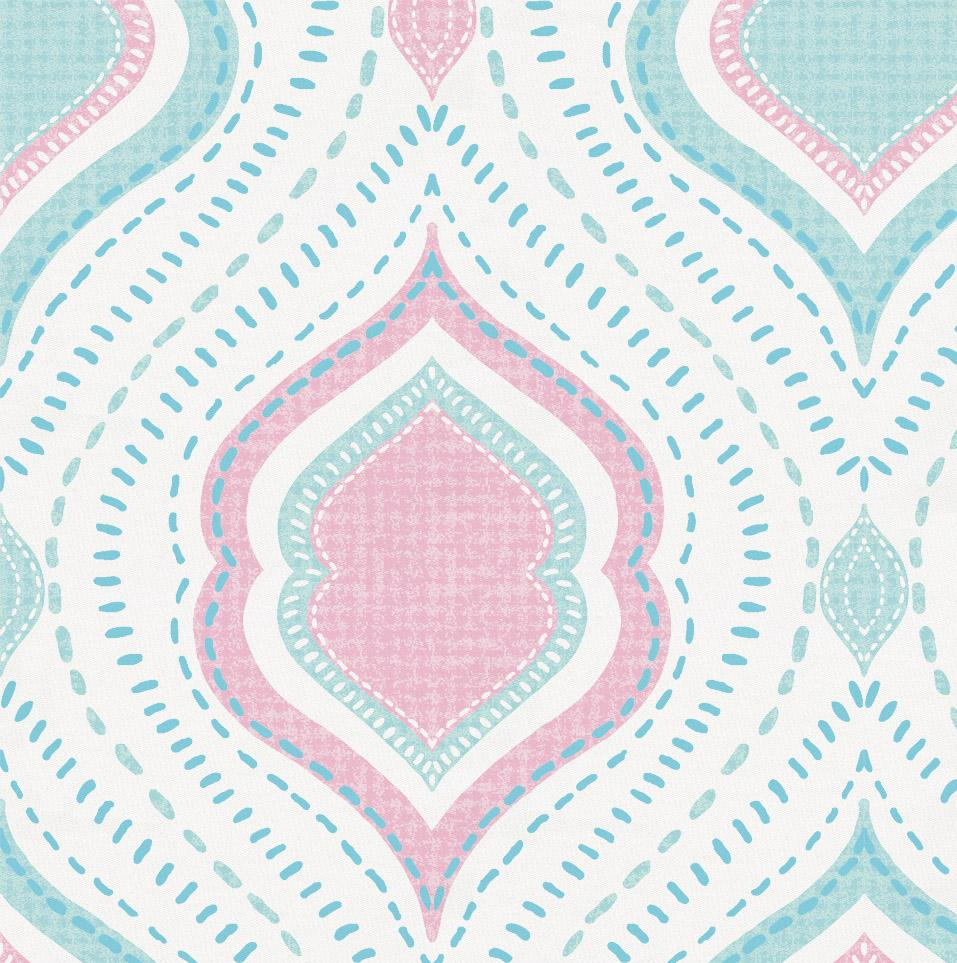 Product image for Seafoam Aqua and Pink Moroccan Damask Drape Panel