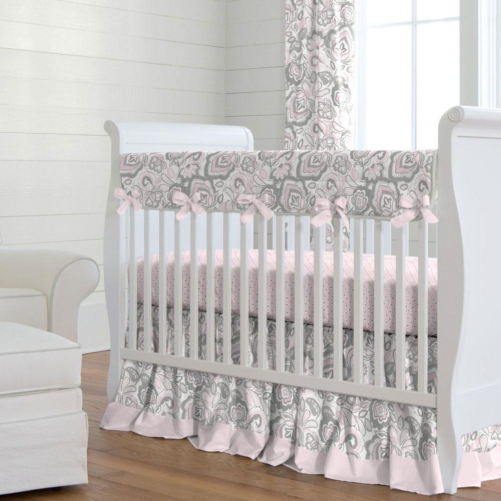 Product image for Pink and Gray Jacobean Crib Skirt Gathered with Trim