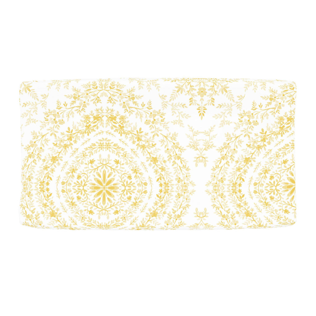 Product image for Yellow Floral Damask Changing Pad Cover