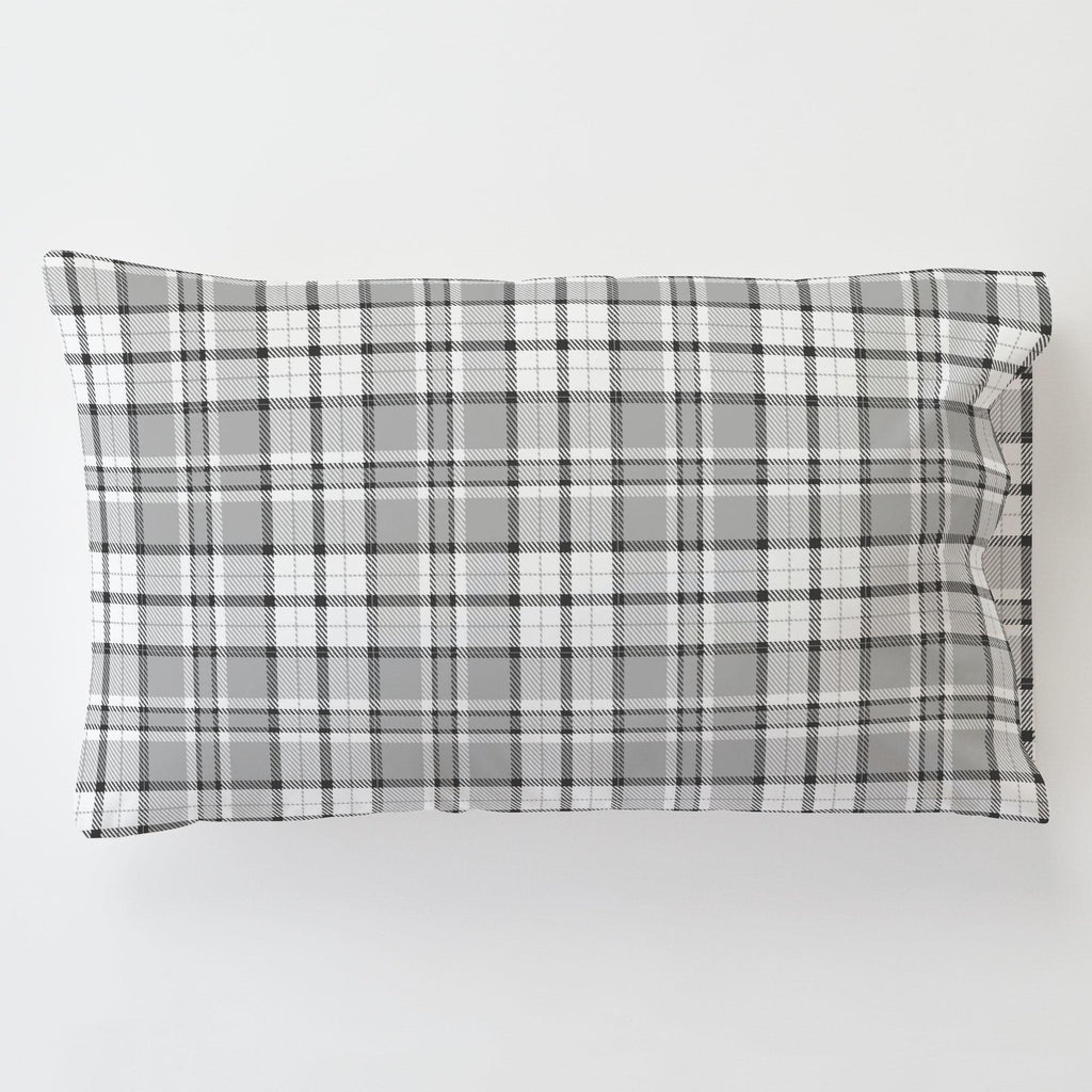 Product image for Gray Plaid Toddler Pillow Case