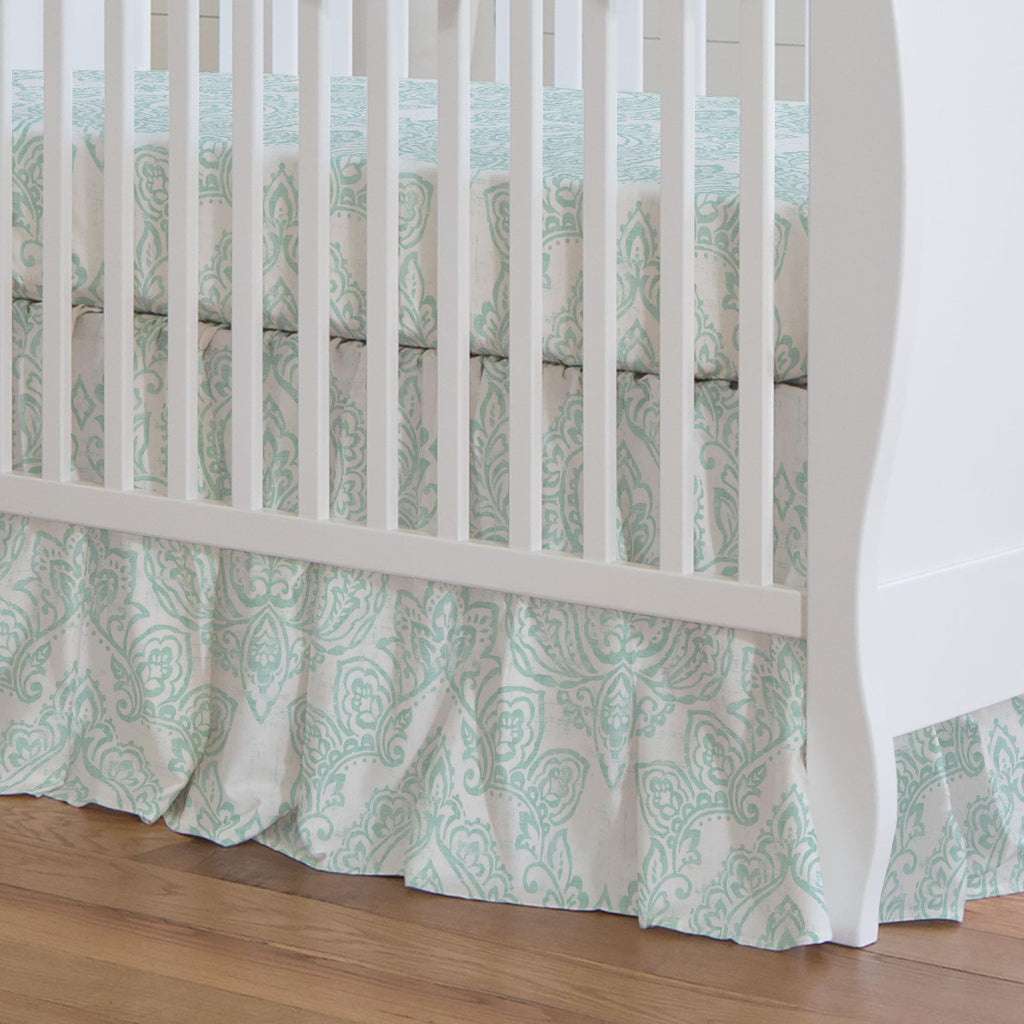 Product image for White and Icy Mint Vintage Damask Crib Skirt Gathered