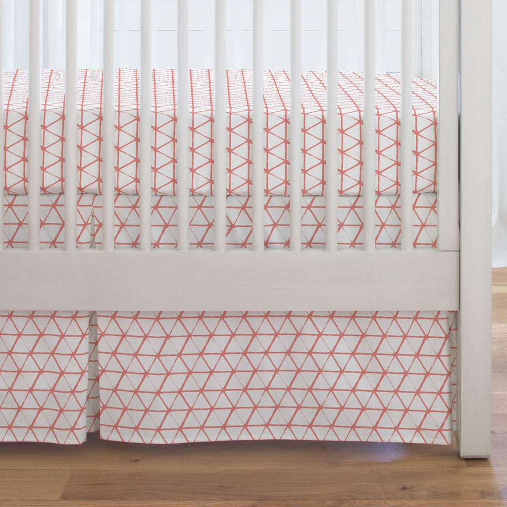 Product image for White and Light Coral Aztec Triangles Crib Skirt Single-Pleat
