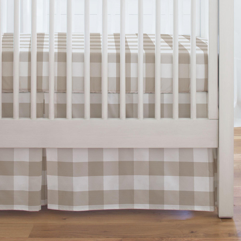Product image for Taupe and White Buffalo Check Crib Skirt Single-Pleat