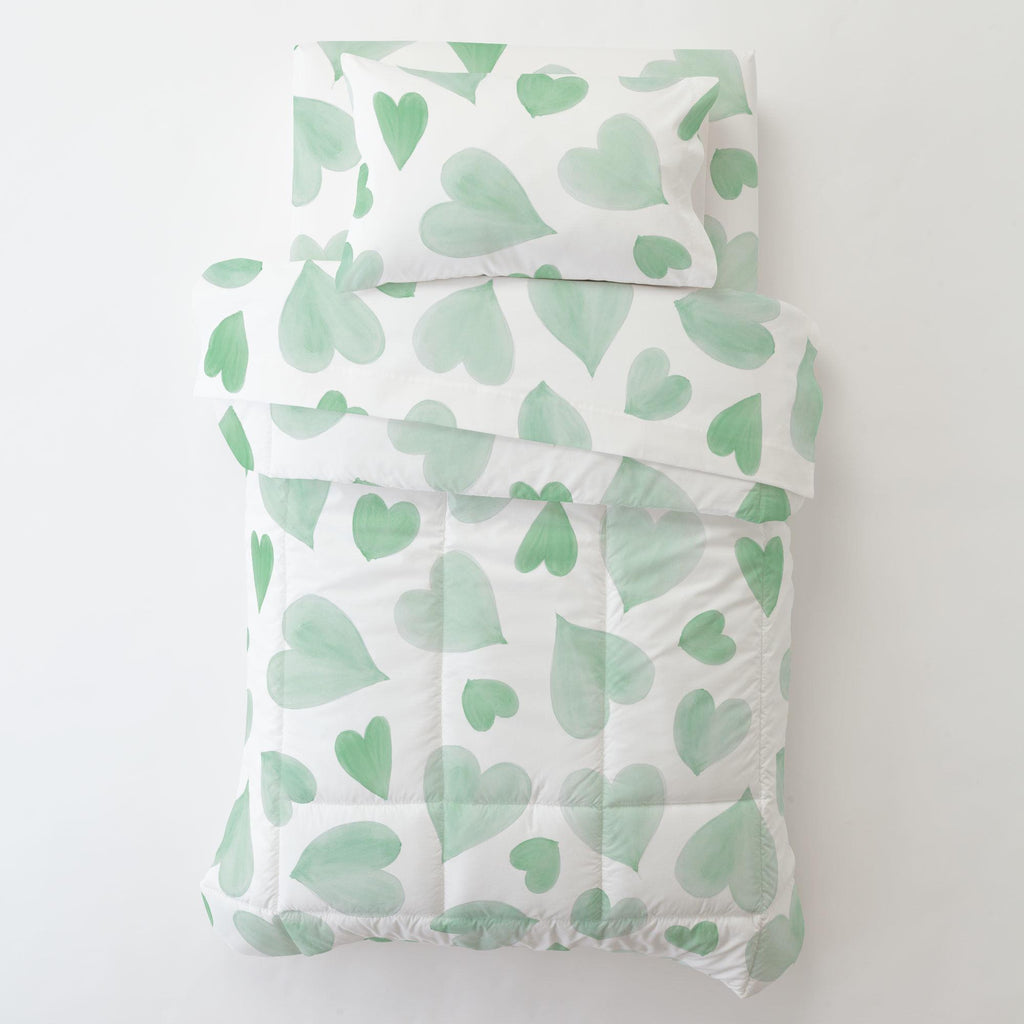 Product image for Mint Watercolor Hearts Toddler Pillow Case with Pillow Insert