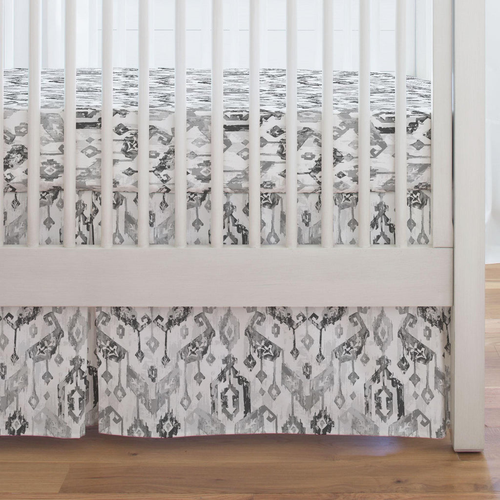 Product image for Gray Tribal Ikat Crib Skirt Single-Pleat