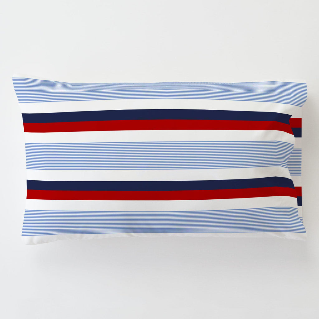 Product image for Red and Blue Stripe Toddler Pillow Case