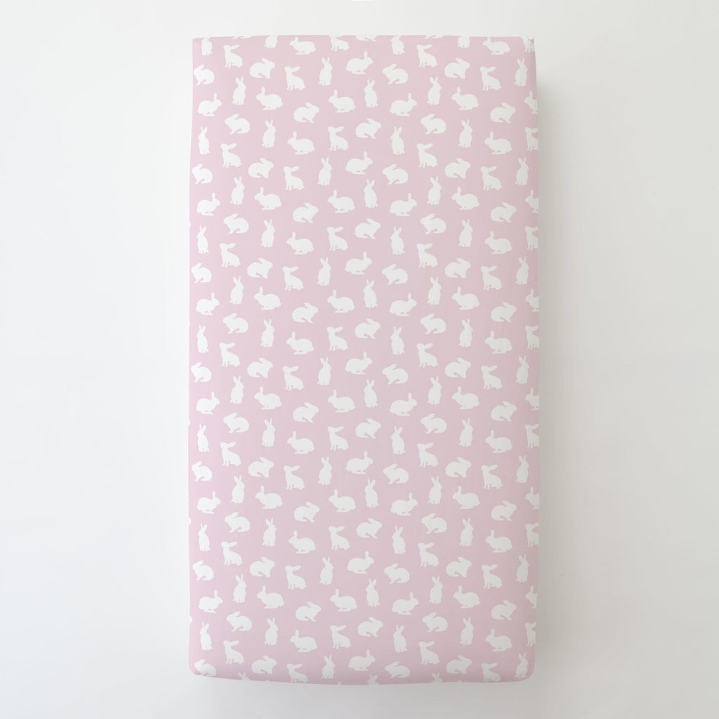 Product image for Pink and White Bunnies Toddler Sheet Bottom Fitted