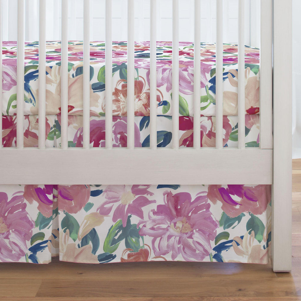 Product image for Pink Brushstroke Floral Crib Skirt Single-Pleat