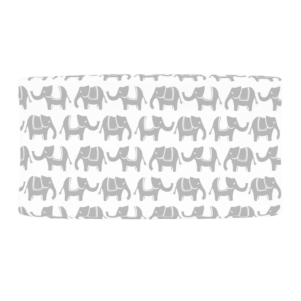 Product image for Silver Gray Marching Elephants Changing Pad Cover