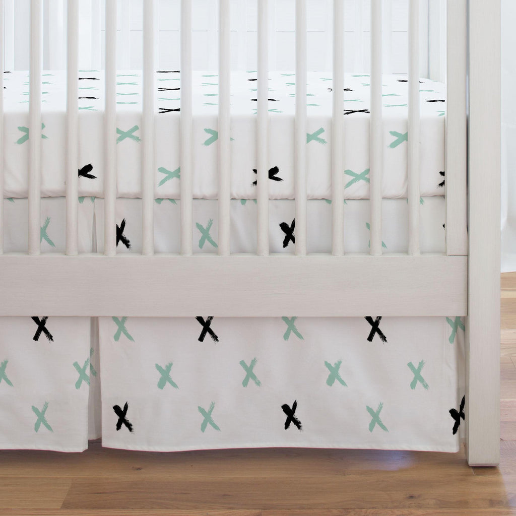 Product image for Mint and Onyx Brush X Crib Skirt Single-Pleat