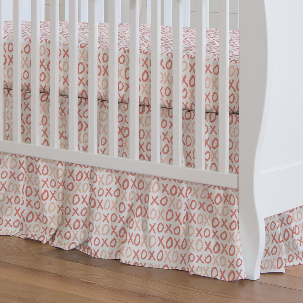 Product image for Light Coral and Peach XO Crib Skirt Gathered