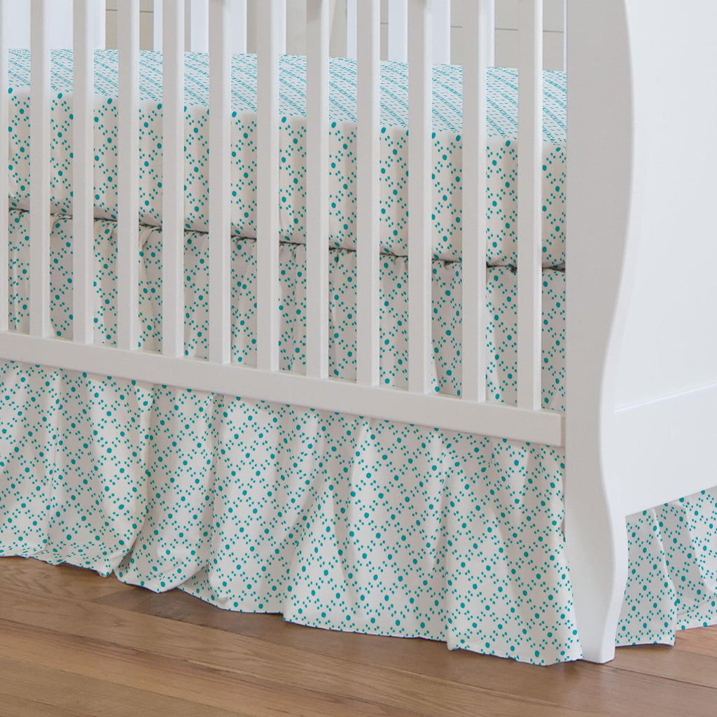 Product image for Teal Lattice Dots Crib Skirt Gathered