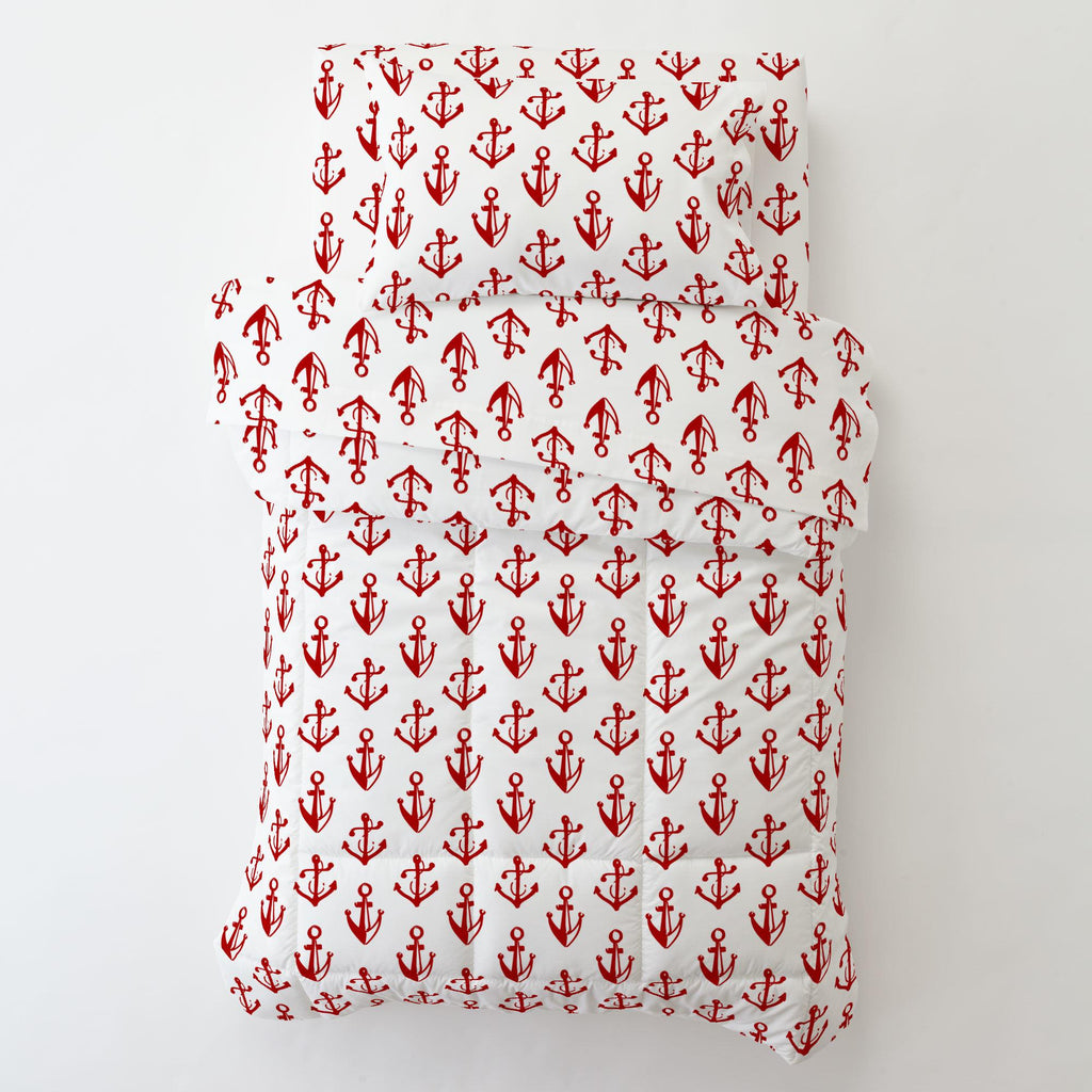 Product image for Red Anchors Toddler Pillow Case with Pillow Insert