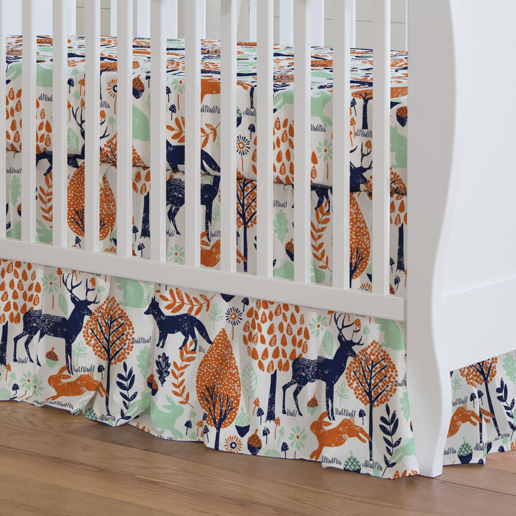 Product image for Navy and Orange Woodland Animals Crib Skirt Gathered