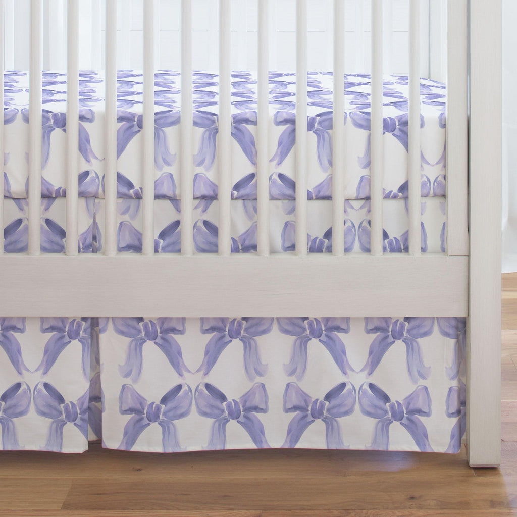 Product image for Lilac Watercolor Bows Crib Skirt Single-Pleat