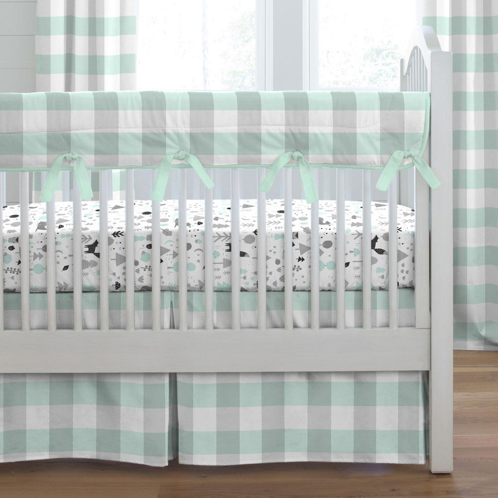 Product image for Mint and Gray Buffalo Check Crib Rail Cover