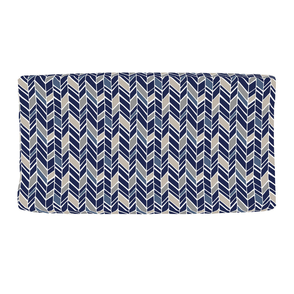 Product image for Taupe and Windsor Navy Herringbone Changing Pad Cover