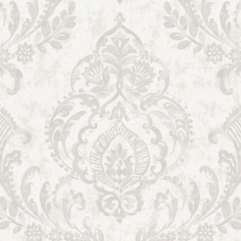 Product image for French Gray Painted Damask Drapes with Trim