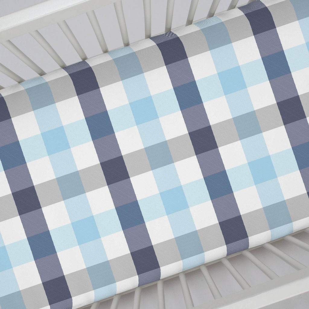 Product image for Navy and Lake Blue Buffalo Check Crib Sheet