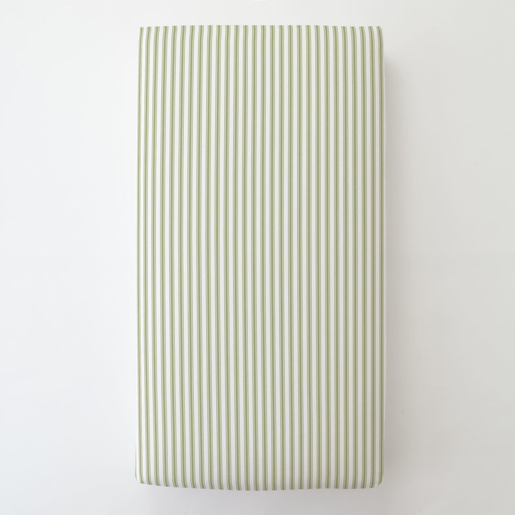 Product image for Sage Ticking Stripe Toddler Sheet Bottom Fitted