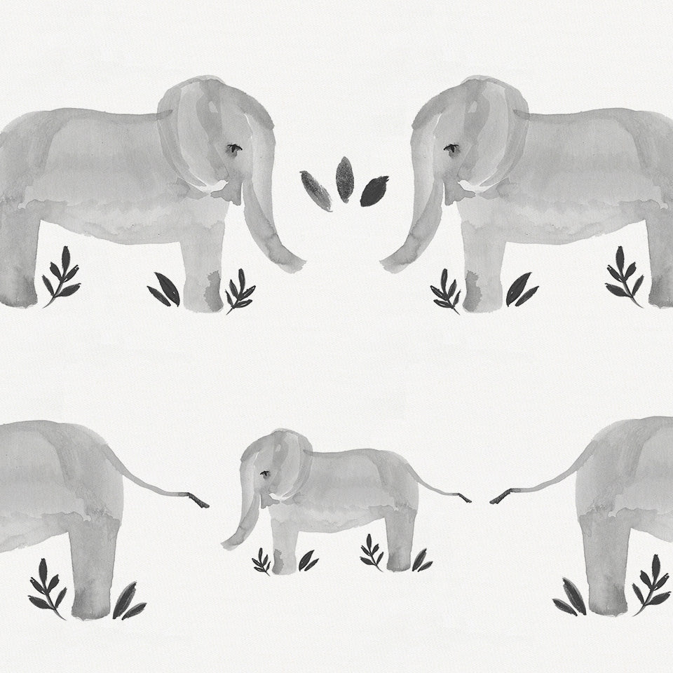 Product image for Gray Painted Elephants Drape Panel