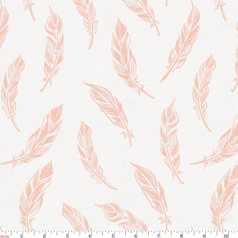 Product image for Peach Hand Drawn Feathers Fabric