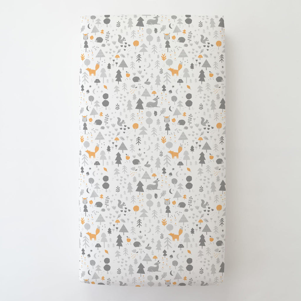 Product image for Light Orange and Silver Gray Baby Woodland Toddler Sheet Bottom Fitted