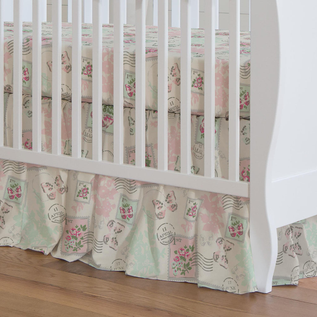 Product image for Blush and Ivory Vintage Stamp Crib Skirt Gathered