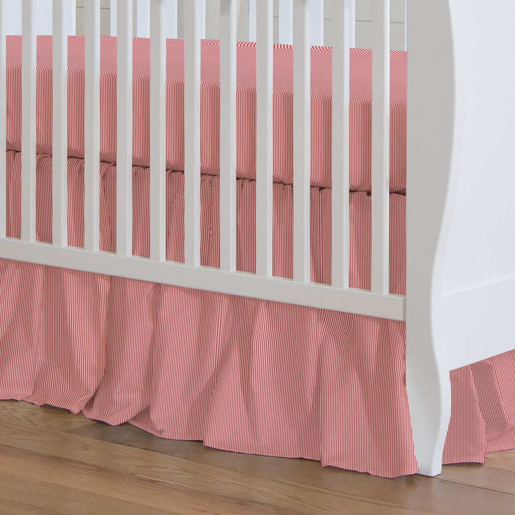 Product image for Coral Mini Stripe Crib Skirt Gathered