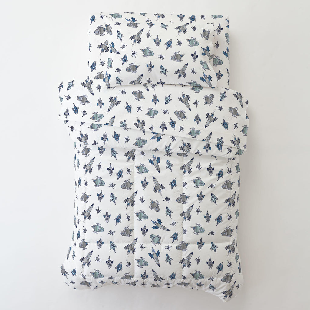 Product image for Navy Retro Rockets Toddler Pillow Case with Pillow Insert
