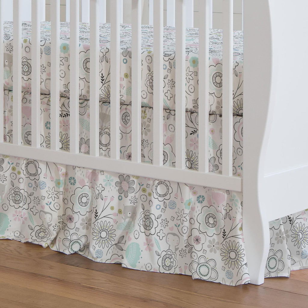 Product image for Pink Spring Doodles Crib Skirt Gathered