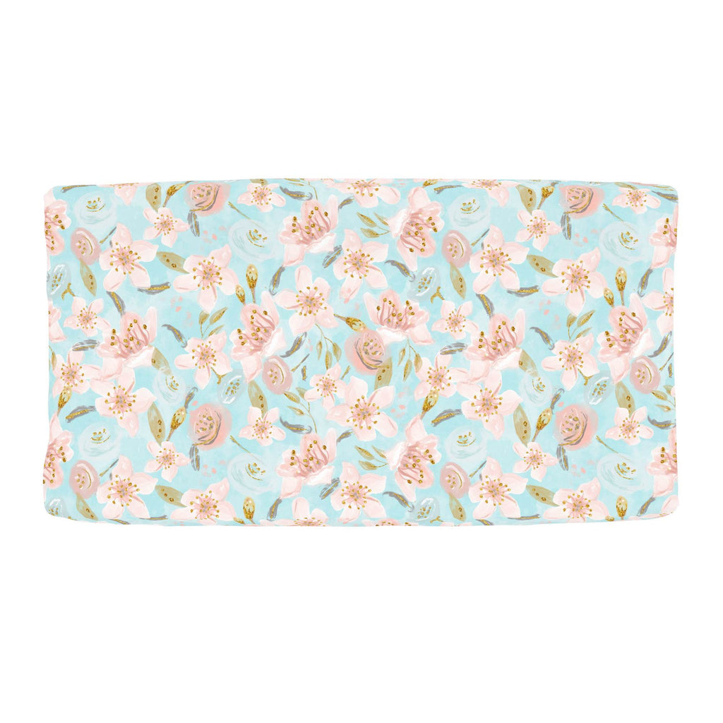 Product image for Aqua and Pink Hawaiian Floral Changing Pad Cover