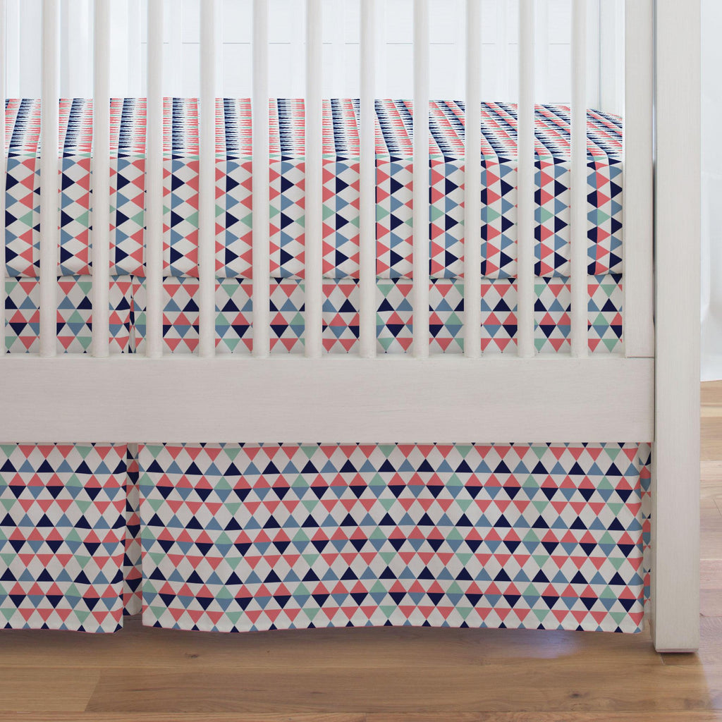 Product image for Coral and Mint Triangles Crib Skirt Single-Pleat