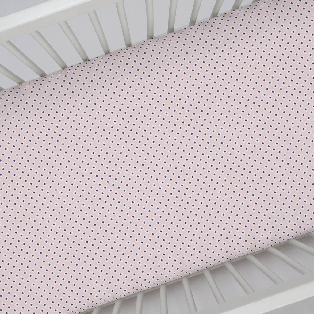 Product image for Pink and Navy Diamond Crib Sheet