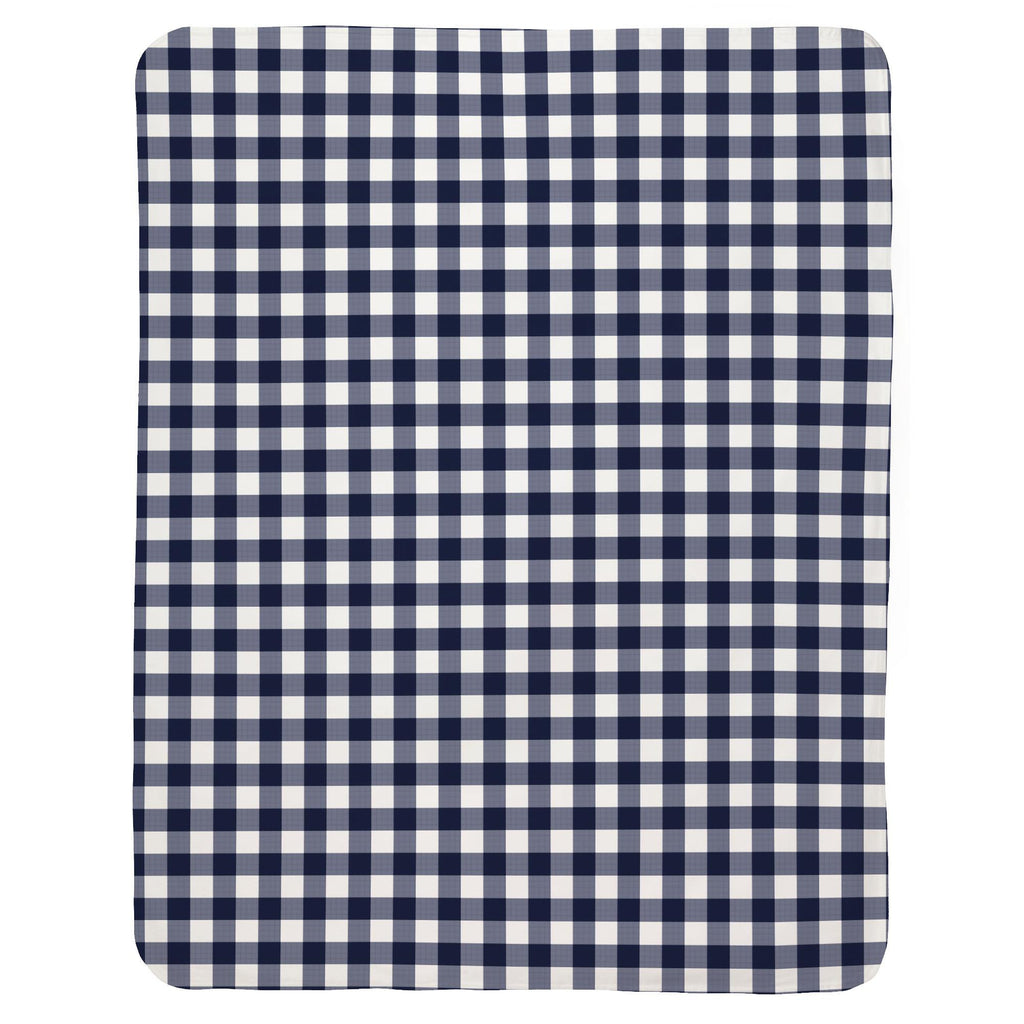 Product image for Windsor Navy Gingham Baby Blanket