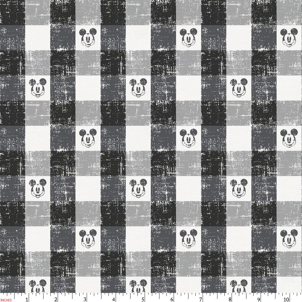 Product image for Disney© Black Mickey Plaid Fabric