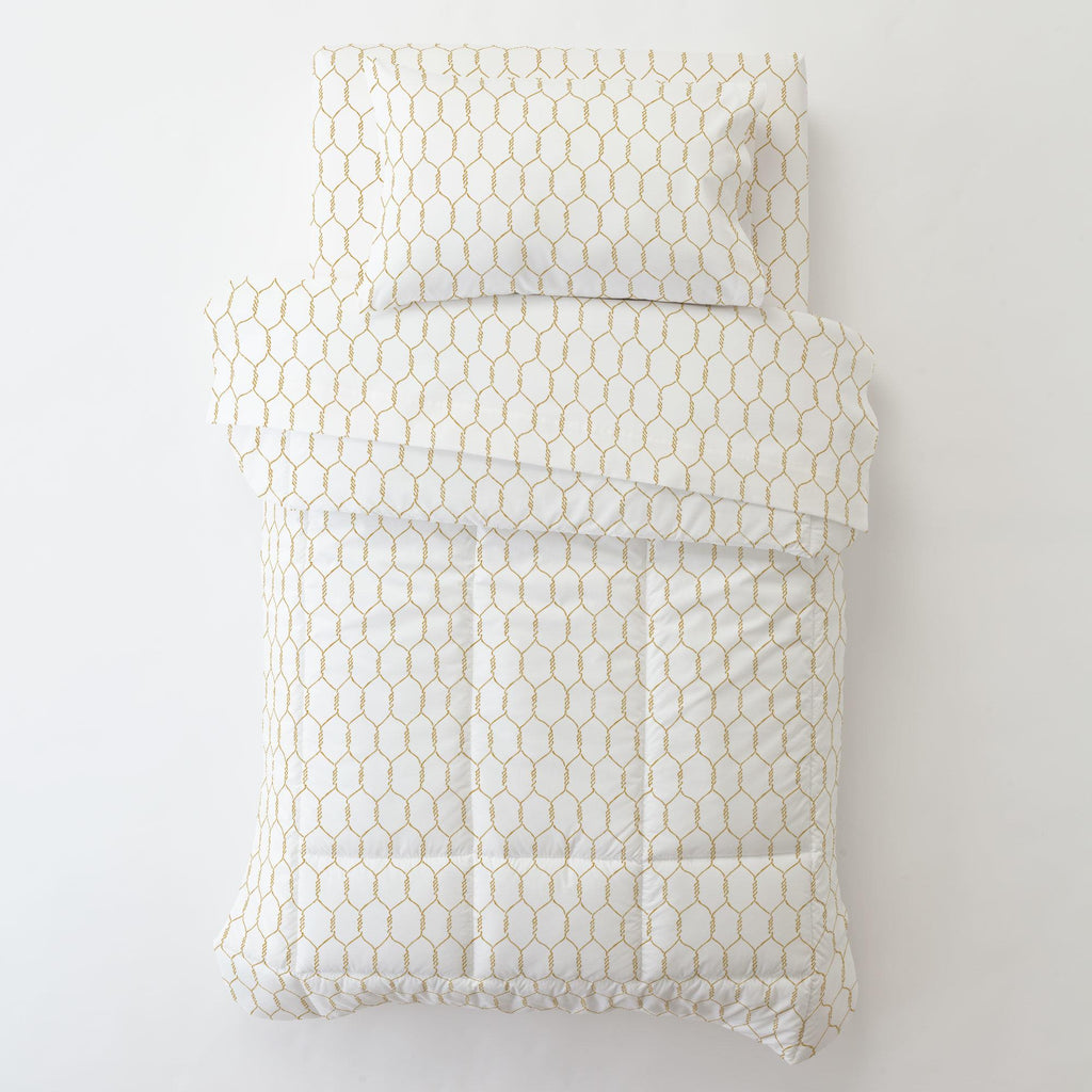Product image for Mustard Farmhouse Wire Toddler Pillow Case with Pillow Insert
