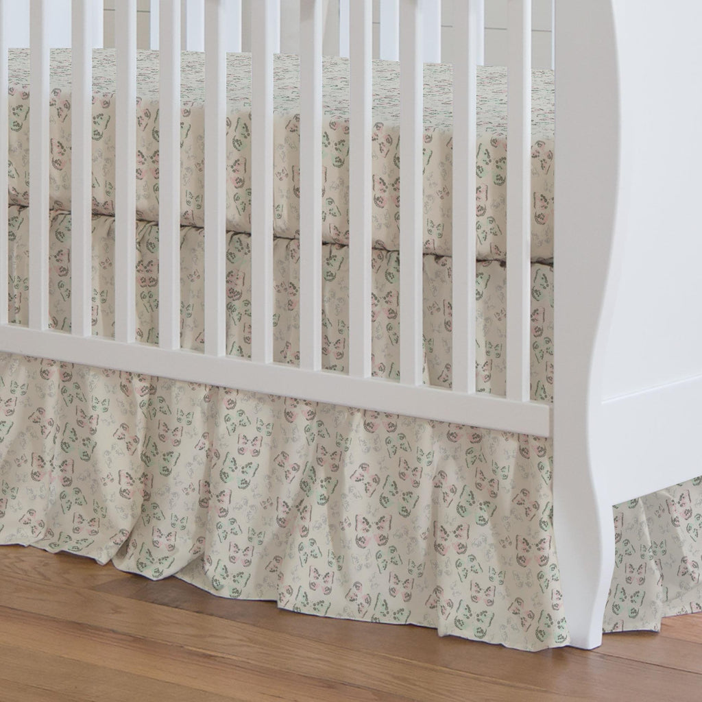 Product image for Blush and Ivory Butterfly Crib Skirt Gathered