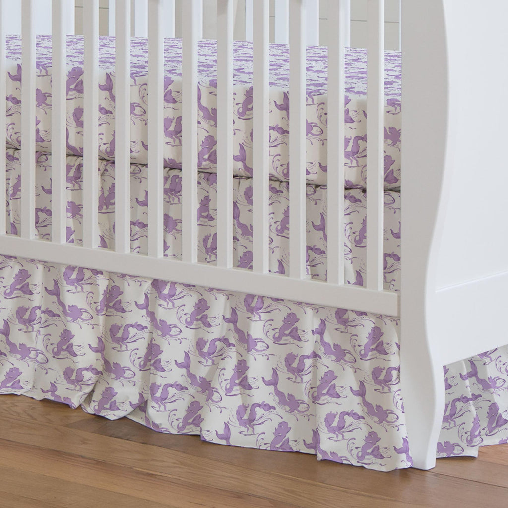Product image for Purple Swimming Mermaids Crib Skirt Gathered