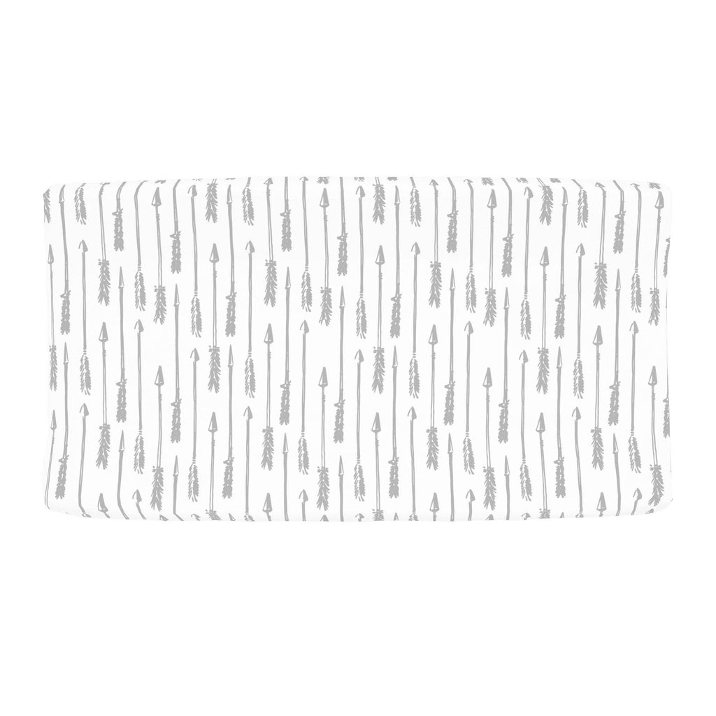 Product image for Silver Gray Hand Drawn Arrow Changing Pad Cover