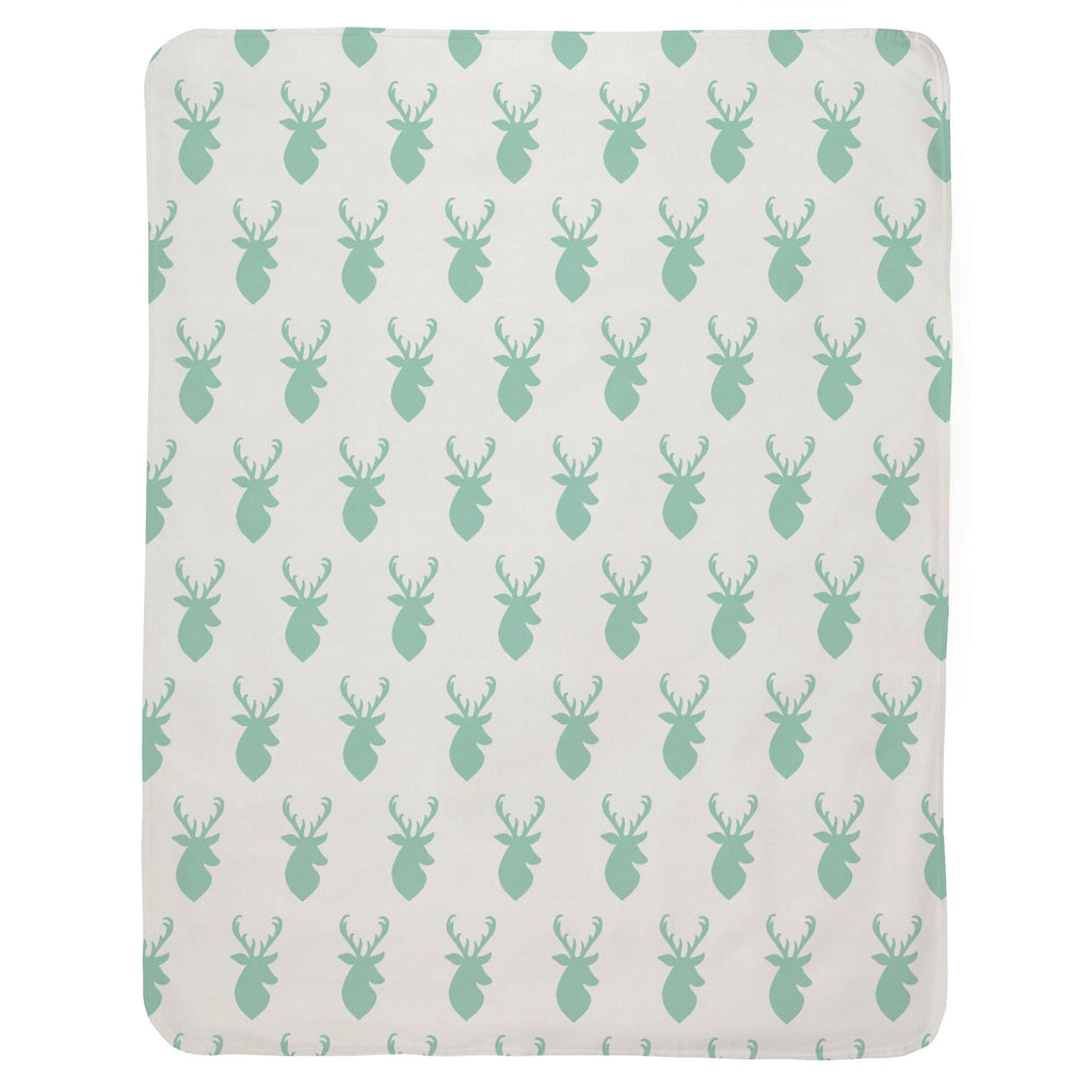 Product image for Mint Deer Head Baby Blanket