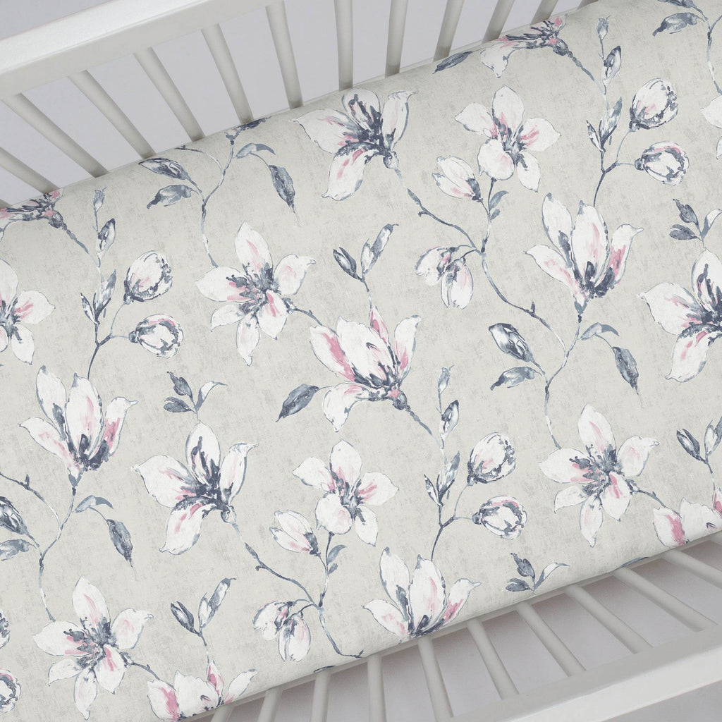 Product image for Pink and Blue Painted Lilies Crib Sheet
