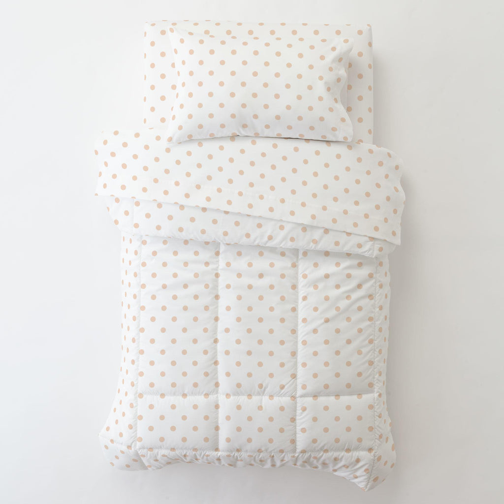 Product image for White and Peach Dot Toddler Pillow Case with Pillow Insert