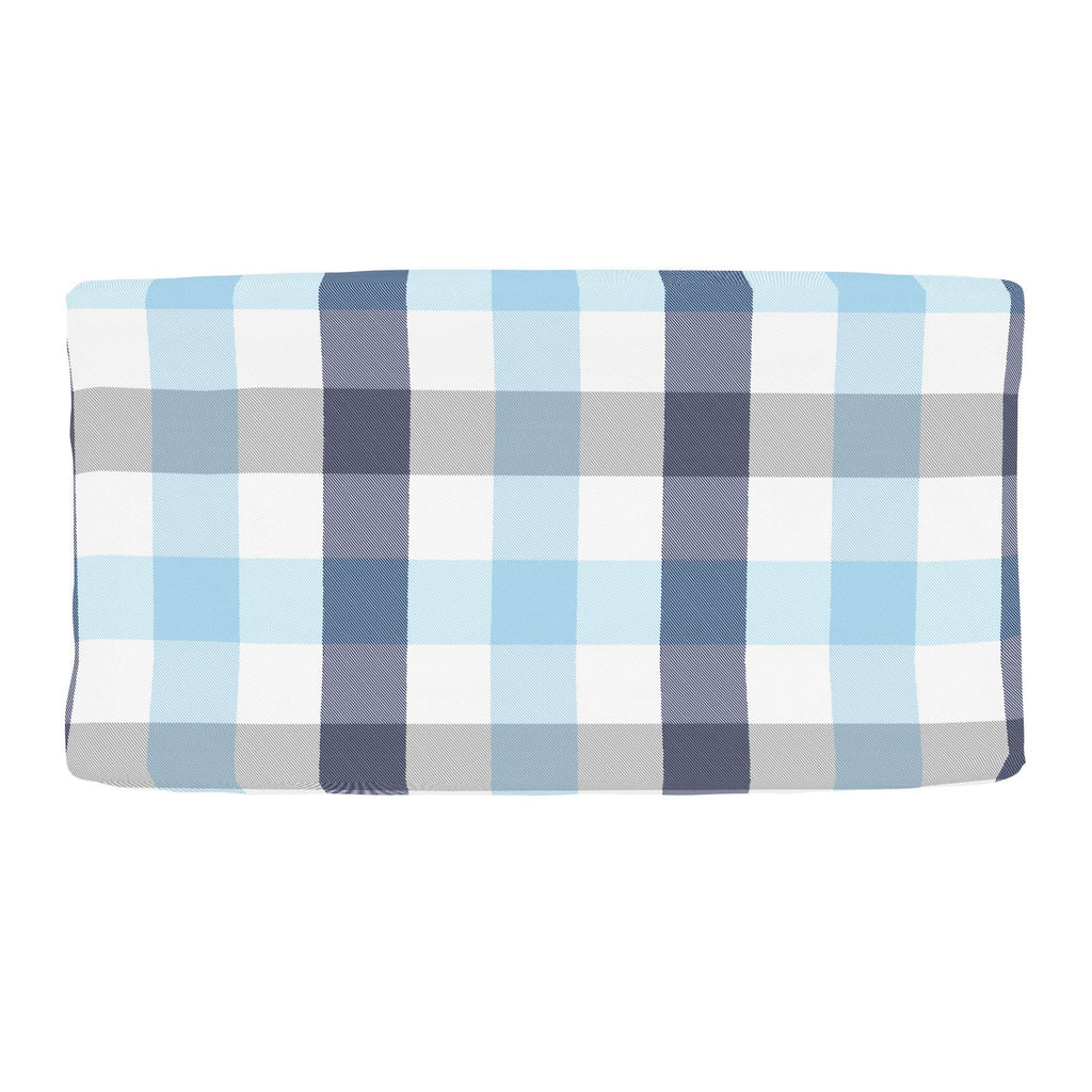 Product image for Navy and Lake Blue Buffalo Check Changing Pad Cover
