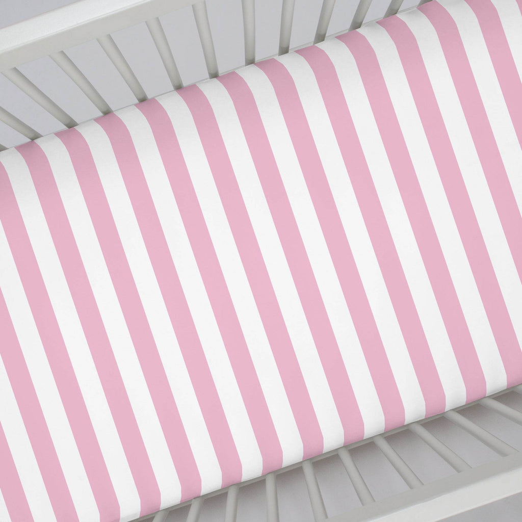 Product image for Bubblegum Pink Stripe Crib Sheet